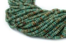 Afghan Turquoise Saucer Beads 3mm Afghanistan Green Gemstone 15 Inch Strand