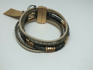 Beautiful Clasp Bracelet Magnetic Gold Gray Tan Leather Beads Signed Susan Joy