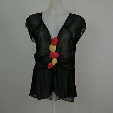 PERSAMAN NEW YORK Women's Medium Black Sheer Cap Sleeve Ruffle Floral V-Neck Top
