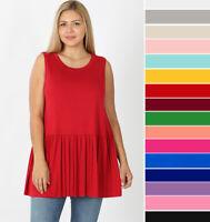 1X 2X 3X Women's Ruffled Bottom Tank Top Loose Tunic Soft Knit Solid Sleeveless