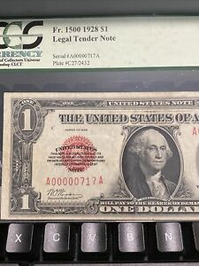 1928 $1 ONE DOLLAR US LEGAL TENDER RED SEAL  TRINARY NUMBER 00000717 Top Rare!
