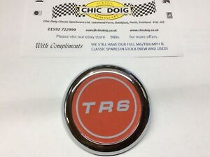 Triumph TR6 Chrome Hubcap and Wheel Badge, Triumph Part No 627502