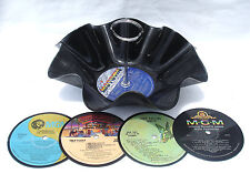 1 Tier Snack Bowl and 4 Drink Coaster Party Set - Recycled Records