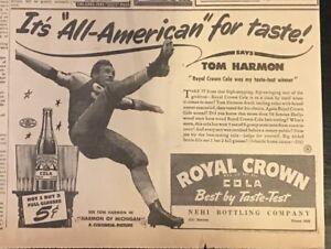 1941 newspaper ad for Royal Crown Cola - Tom Harmon All American Football player