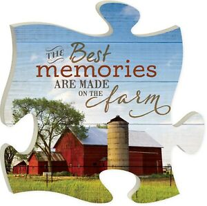 Best Memories Made on the Farm Red Barn 12 x 12 Wall Hanging Puzzle Piece Plaque