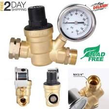 RV Water Pressure Regulator Brass Lead Free Adjustable Pressure Reducer & Gauge