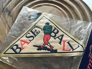 Retro Baseball Sew On Patch By Vogue Star (Accessory Club). Triangular.