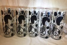 "Set of 5 9"" Tall 32oz Glasses Clear Black Design Footprint Peace Sign Smily Face"