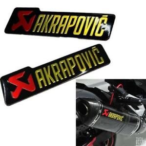 3pc AKRAPOVIC Heat-resistant Exhaust Pipe Sticker Motorcycle 3D Aluminum Decal
