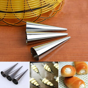 UK Stainless Steel Dessert Cannoli Cone Form Tubes Cake Baking Mold Tool S/L