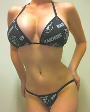 NEW NFL OAKLAND RAIDERS BLACK PRINT LINGERIE/THONG BIKINI SET A/B TOP LINING