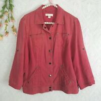 Coldwater creek Size Large / 12 Linen shirt / light jacket rustic red 3/4 sleeve