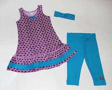 Naartjie Purple Floral Tank Knit Dress~Blue Polka Dot Leggings~Headband Set 5