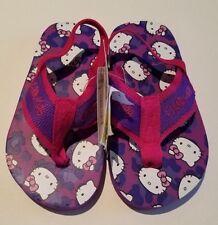 Toddler Girls Sanrio Hello Kitty Brand Purple & Pink Flip Flops Elastic Heel 7/8