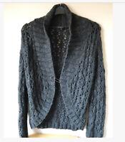 East Womens 100% Wool Cardigan Charcoal Grey Chunky Knit Shawl Collar Size Small