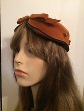 "Very Cute! Vintage 40's Art Deco G.Howard Hodge ""Midi"" France Women's Felt Hat"
