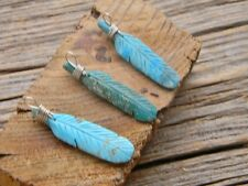"Sterling silver Navajo hand carved turquoise feather  free 18"" cobra chain"