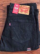 Levi's Men's New 505 33X36 Black Jeans At Waist X-Room Thigh Straight Leg 1434