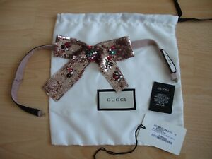 NEW AUTHENTIC GUCCI BROOCH LOOK CRYSTAL EMBELLISHED SEQUIN NECK TIE - ADJUSTABLE