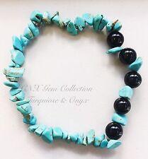 Gemstone Crystal Turquoise Chipstone N Onyx Beads Bracelet Birthstone July