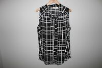 CATO Sleeveless Tie Neck Blouse Windowpane Print Women's Size18/20 18 20 HW4990