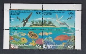 1993 Nauru Bids / Fish SG 410/13 MUH Set 4 Block 4