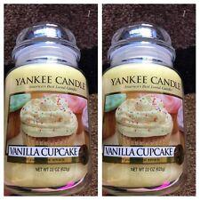 """ Vanilla Cupcake "" SET OF 2- NEW YANKEE CANDLE LARGE JARS 22OZ"