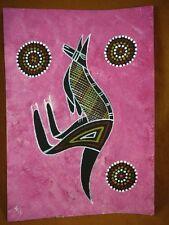 AUS-13 Kangaroo pink Australian Native Aboriginal PAINTING dot Artwork T Morgan