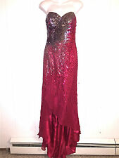 TERANI COUTURE WOMENS RED 100% SILK STRAPLESS PROM FORMAL GOWN HIGH LOW DRESS  8