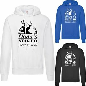Personalised Men's Stag Do Hoodie with Stag Design, Various Sizes and Colours