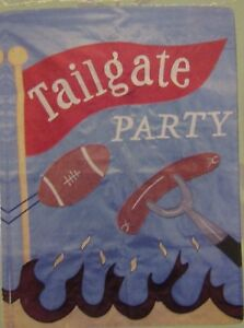 """NEW TOLAND APPLIQUE' LARGE FLAG 28x40"""" """"TAILGATE PARTY"""""""