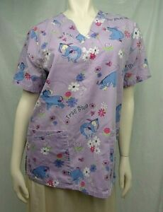 Disney Scrub Top Shirt Small Pink Eeyore Whinny the Pooh Unisex 4 Pockets