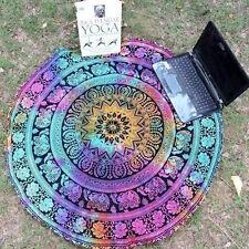 Elephant Tie Dye Round Throw Hippie Yoga Mat Cotton Boho Tapestry Beach Throw