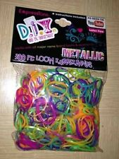 "Rainbow Cra-Z-Loom Refill Kit 300 Bright Metallic Pearl Rubber Bands 6 ""S"" Clips"