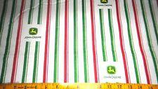 John Deer Cotton Flannel fabric Candy Stripes & JD Logo Allover