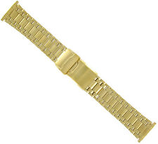 18-22mm Speidel Yellow Gold Mens Adjustable Metal Watch Band Straight End