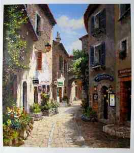 "S. SAM PARK ""MORNING IN PROVENCE"" Hand Signed Large Serigraph Art"