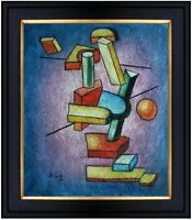 Framed Building Blocks Abstract, Hand Painted Oil Painting 20x24in