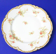 Vntg French Haviland Limoges Dinner Plate Pink Roses Gold Scalloped Edge 100 Yrs