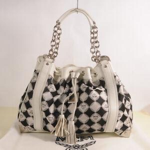 Authentic MCM Diamond Pattern Draw Shoulder Bag + Dust Cover