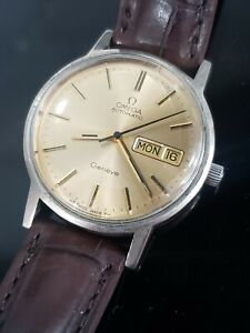 Vintage Omega Geneve Automatic Day Date Mens Stainless Watch 166.0117 Cal.1022