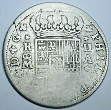 1700's Spanish Silver 2 Reales Authentic Antique Colonial Two Bits Pirate Coin