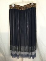 Athena Marie Layered Pleated Lined Lace Embellished  Midi Skirt Size L