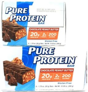 2 Boxes Pure Protein Chocolate Peanut Butter 6 Count Bars 10.58 Oz  BB 9-16-21
