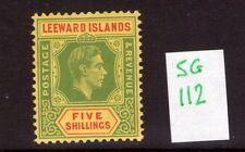 Leeward Islands George VI SG112 5/- ,single, multi-colour lightly hinged