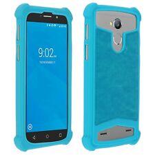 Coque étui antichocs silicone/cuir bleu pour mobile smartphone Wiko Selfy 4G