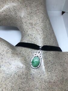 Vintage Green Jade Choker White Sapphire Pendant Necklace