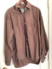 Vintage Men's Replay Brown Button Down Long Sleeve Shirt Sz L 100% Cotton