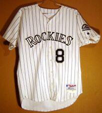 COLORADO ROCKIES BOBBY ESTALELLA White Pinstripe #8 GAME WORN MLB JERSEY
