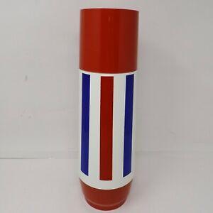 Vtg MCM Thermo-Serv  Thermos Bottle Red White Blue Striped 1 Quart
